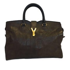 YSL Yves Saint Laurent Chyc Model Tote Bag in Brown Leather