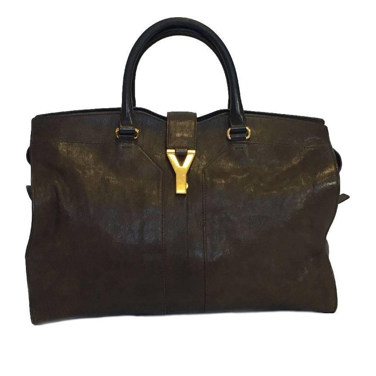 cf26f7080f YSL Yves Saint Laurent Chyc Model Tote Bag in Brown Leather For Sale at  1stdibs