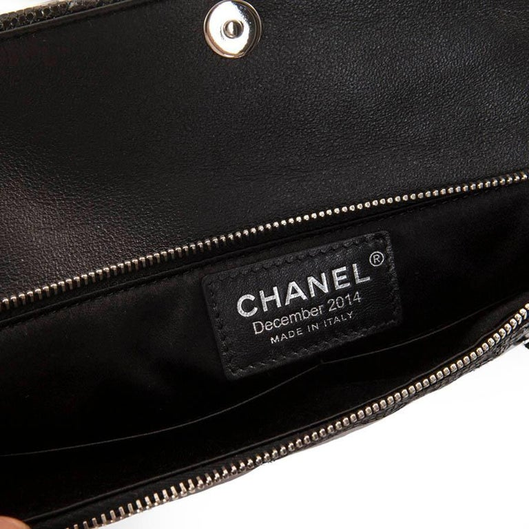 CHANEL Evening Bag in Black Quilted Laminated Leather For Sale 2