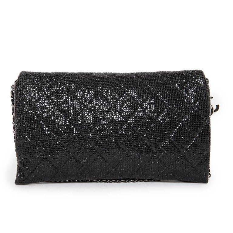 Women's CHANEL Evening Bag in Black Quilted Laminated Leather For Sale