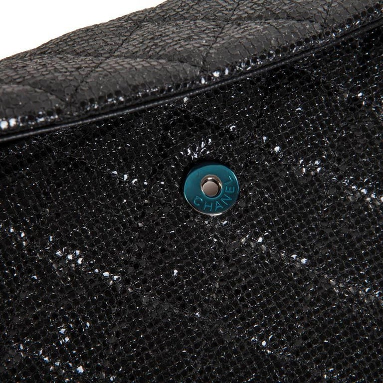 CHANEL Evening Bag in Black Quilted Laminated Leather For Sale 3