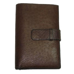 HERMES Wallet in Brown Ostrich Leather