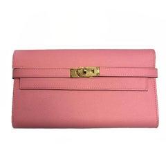 Hermes Kelly Wallet in Confetti Pink Epsom Calfskin Leather