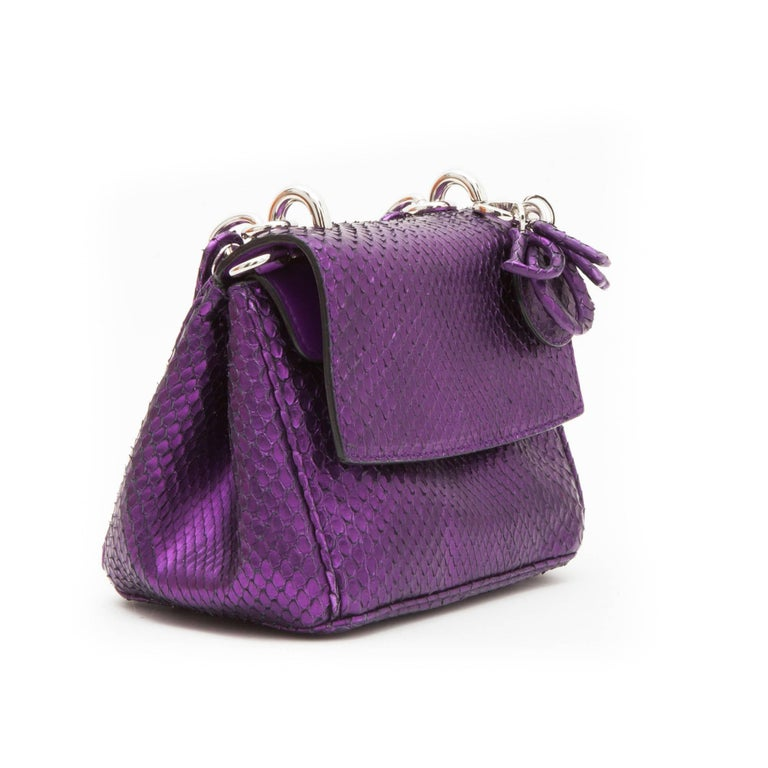 f4eefa104ab Christian Dior Metallic Purple Python Double Flap Bag In Good Condition For Sale  In Paris,