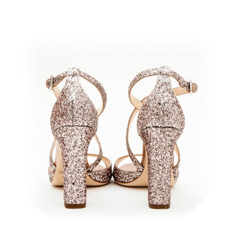 021c65854d7 Jimmy Choo High Heel Sandals in Pink Sequins Size 40EU In New Condition For  Sale In