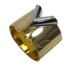 LOUIS VUITTON 'Essential V' Cuff Bracelet in Golden Finish Brass