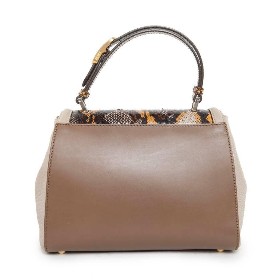 Fendi silvana Bag Bi-material In Brown And Beige Leather And Lizard tK3cp1XohN
