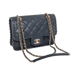 CHANEL Bag in Dark Green Quilted Leather with a Satin effect