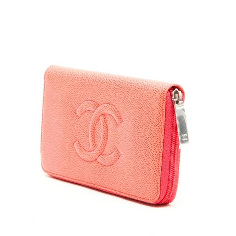 Orange CHANEL Wallet in Grained Salmon Leather For Sale