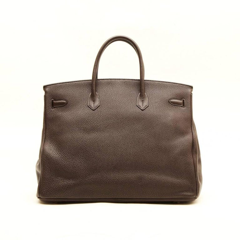 c25eee24276 Gilded hardware. Made in France. Black HERMES Birkin 40 in Brown Taurillon  Clémence Leather For Sale