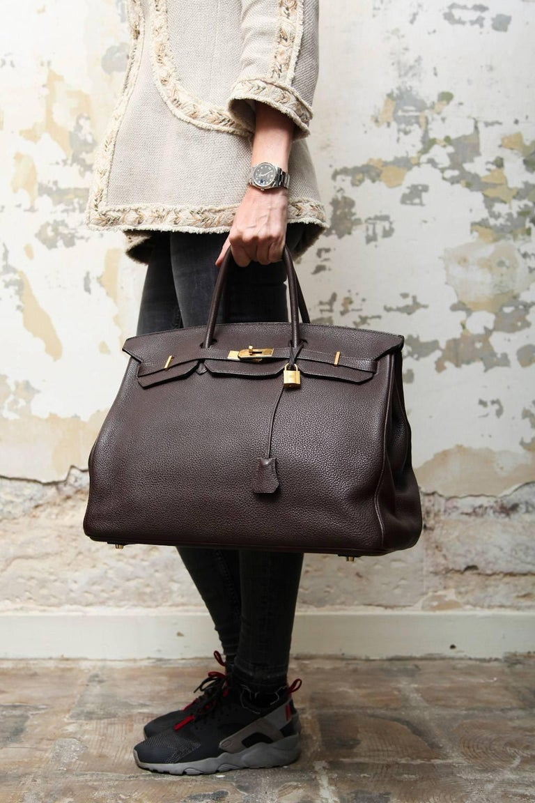 a73c493f55f7 Birkin 40 Hermes in brown taurillon clémence leather. Gilded hardware. Made  in France.