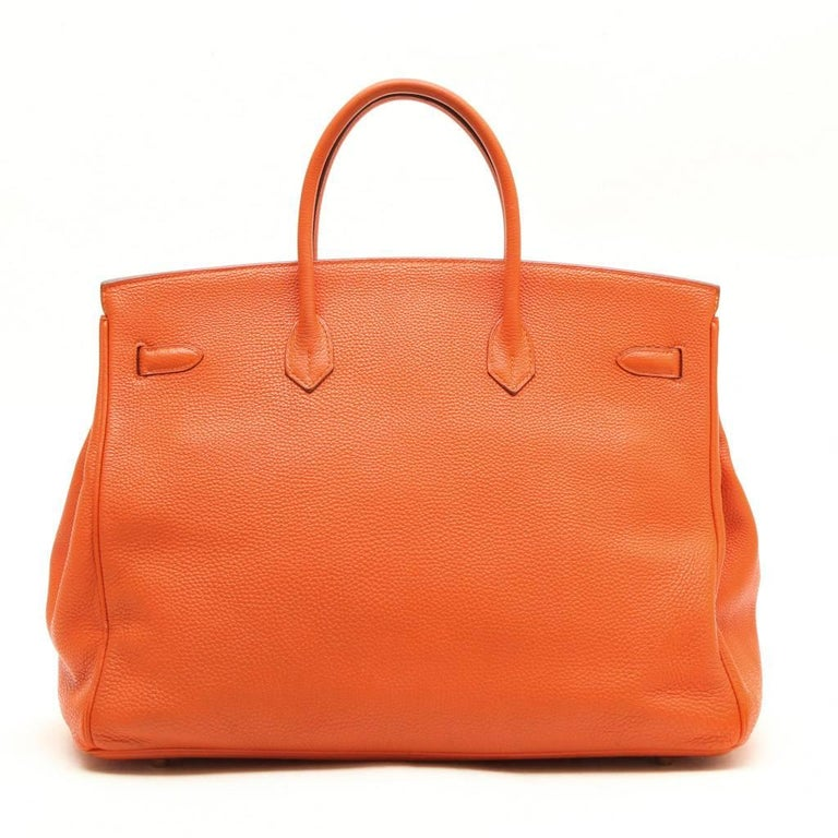 21e248cd48 HERMES Birkin 40 Bag in Orange Togo Leather In Good Condition For Sale In  Paris