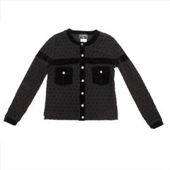 Chanel Jacket in Black Cotton Signed with CC Size 42 EU