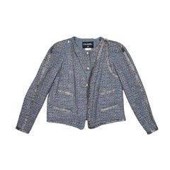 "Chanel ""Paris Bombay"" Jacket in Gray Tweed with Swarovski Crystals Mesh Bands 38"
