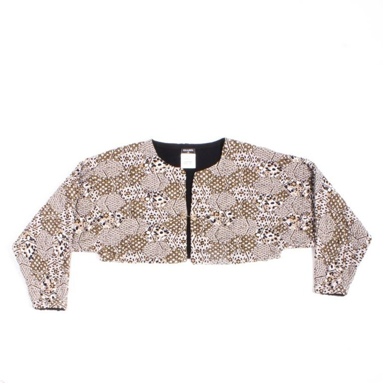 "Chanel ""Paris Dubaï"" Bolero Jacket in White and Gold Stretch Cotton Size 38FR"
