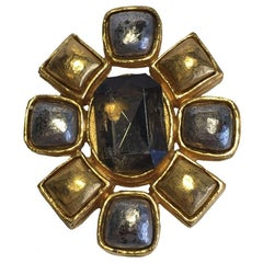 Vintage CHANEL Brooch in Gilded and Silver Metal