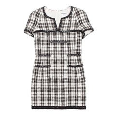 CHANEL Dress in Black and White Tweed Size 38FR