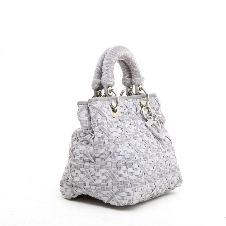 Women's CHRISTIAN DIOR Lady D Bag in Gray Woven, Cotton and Leather Ribbons For Sale