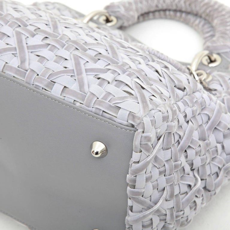 CHRISTIAN DIOR Lady D Bag in Gray Woven, Cotton and Leather Ribbons For Sale 3
