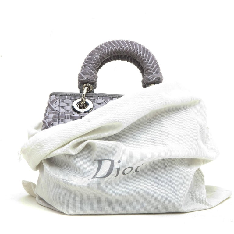 CHRISTIAN DIOR Lady D Bag in Gray Woven, Cotton and Leather Ribbons For Sale 6