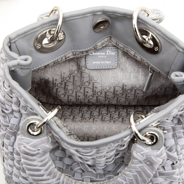CHRISTIAN DIOR Lady D Bag in Gray Woven, Cotton and Leather Ribbons For Sale 5