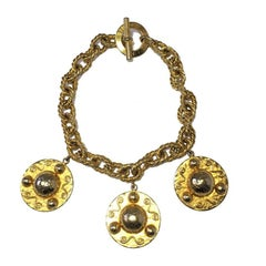 CELINE Vintage Necklace in Gilded Metal