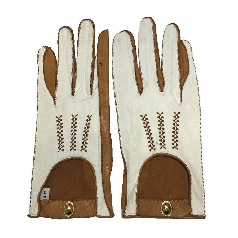 CHRISTIAN DIOR Gloves in Two-Tone White and Caramel Lamb Leather 7 3/4