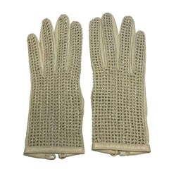 CHANEL Gloves in Light Beige Kid Leather and Crochet Size 7.5