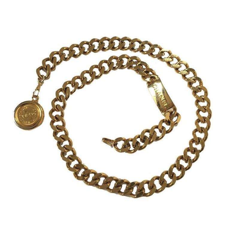 CHANEL Vintage Chain Belt in Gilded Metal size 80