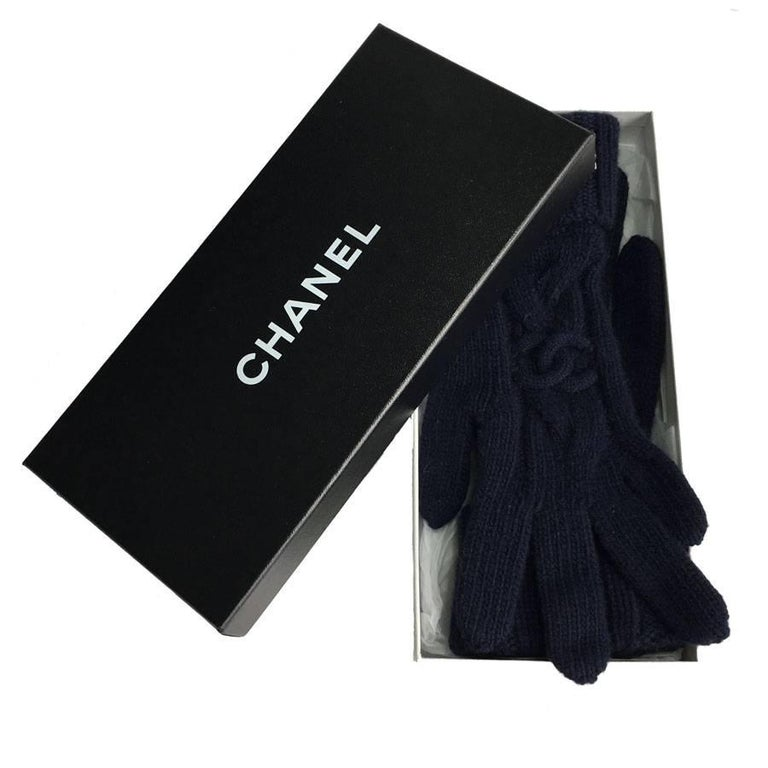 ae7c96dc Chanel gloves in dark blue cashmere. Brand labels and material sewn inside  the gloves.