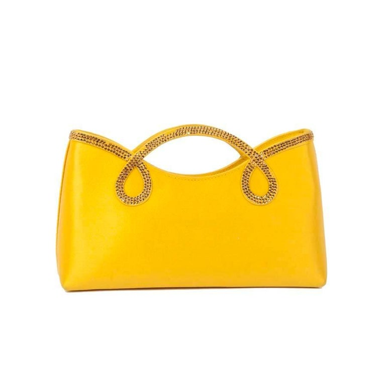 WALTER STEIGER Mini Cocktail Bag in Lemon Yellow Silk and Rhinestones In Excellent Condition For Sale In Paris, FR