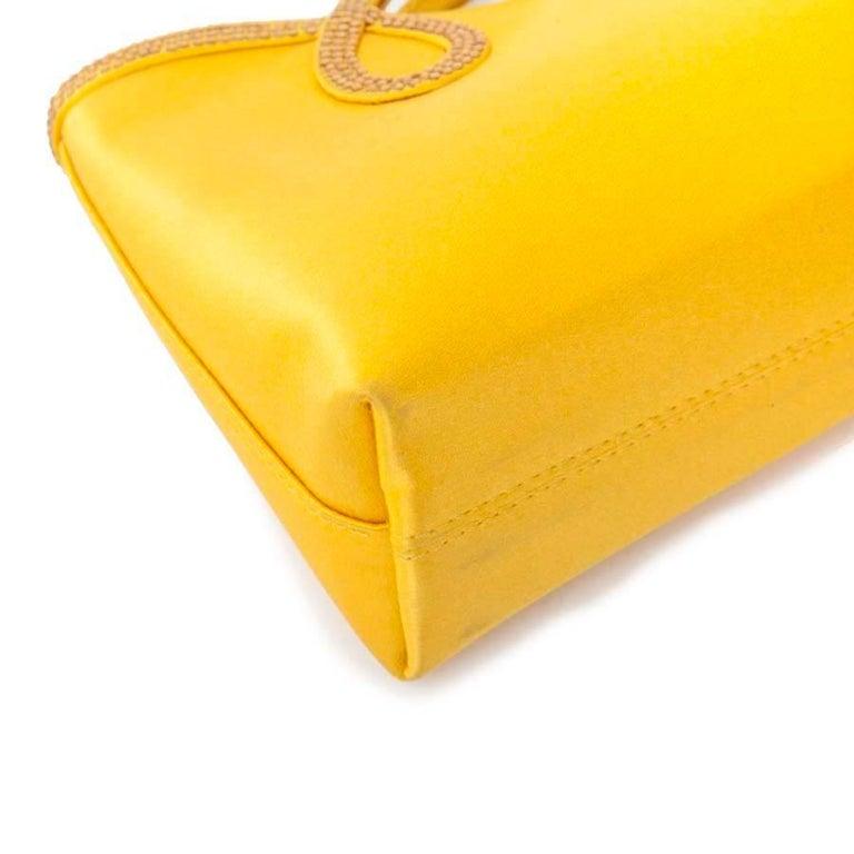 WALTER STEIGER Mini Cocktail Bag in Lemon Yellow Silk and Rhinestones For Sale 1
