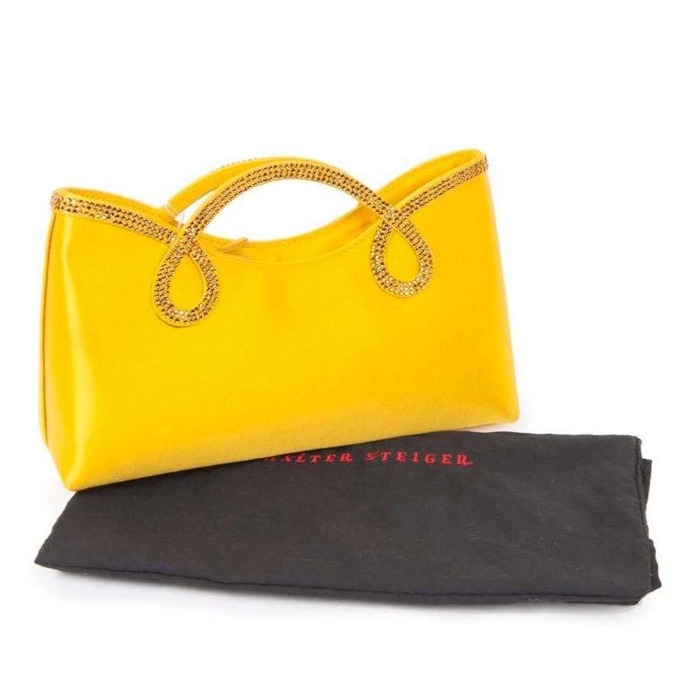 WALTER STEIGER Mini Cocktail Bag in Lemon Yellow Silk and Rhinestones For Sale 4