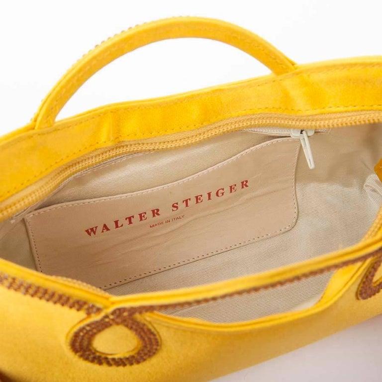 WALTER STEIGER Mini Cocktail Bag in Lemon Yellow Silk and Rhinestones For Sale 2