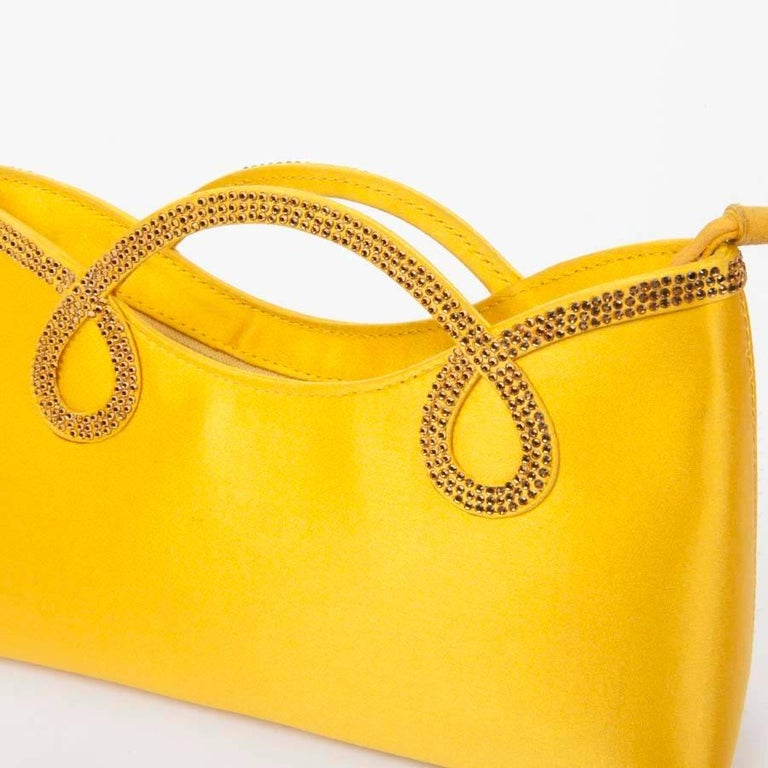 WALTER STEIGER Mini Cocktail Bag in Lemon Yellow Silk and Rhinestones For Sale 3