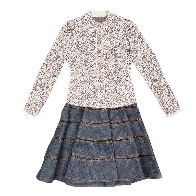 Alaia Skirt in Denim and Vest In Viscose, Set Size 36FR