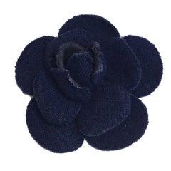 CHANEL Camellia Brooch in Dark Blue Fabric