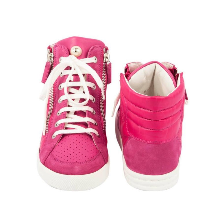 Chanel Sneakers in Pink Fuchsia Velvet and Leather, Size 38FR