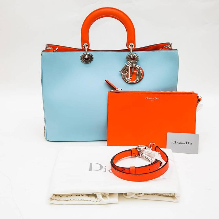 CHRISTIAN DIOR 'Lady D Dior' Bag in Blue Sky Leather and Gray Python For Sale 6