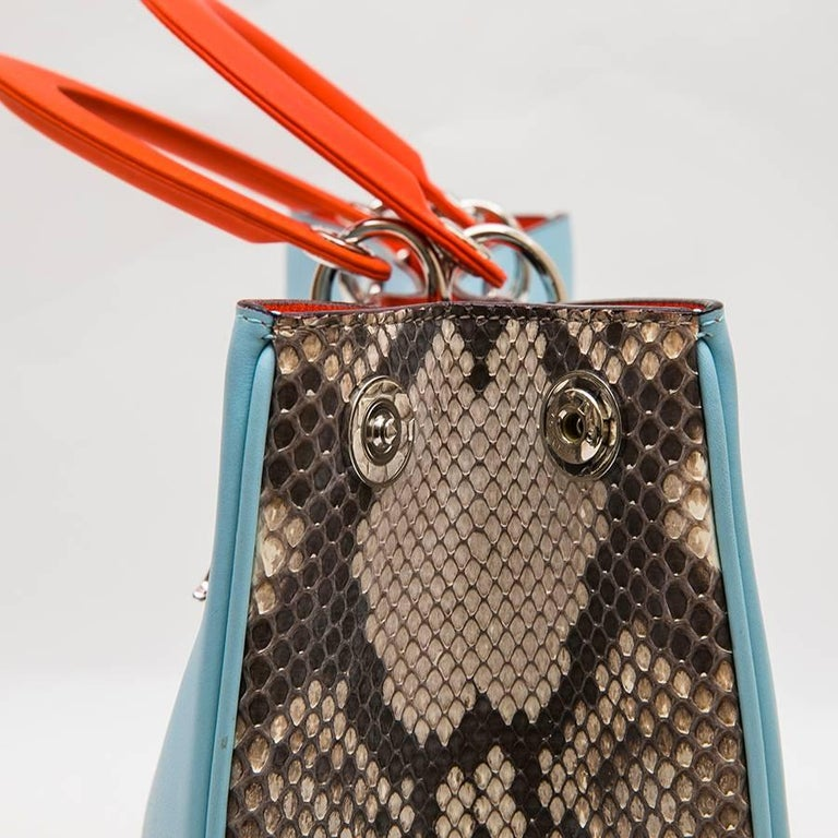 CHRISTIAN DIOR 'Lady D Dior' Bag in Blue Sky Leather and Gray Python For Sale 2