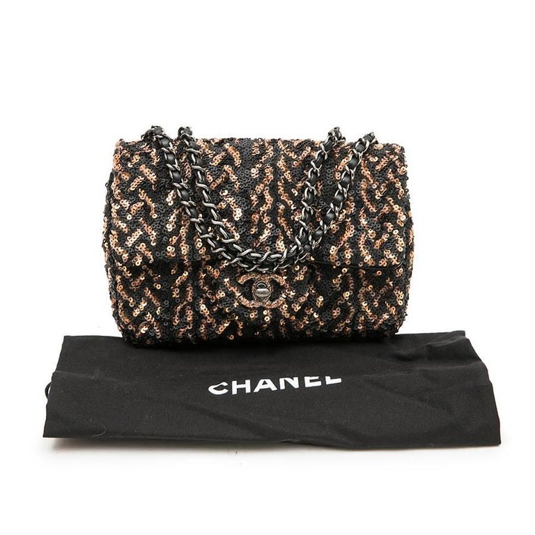 CHANEL Mini Evening Flap Bag in Black Leather Embroidered with Sequins For Sale 6
