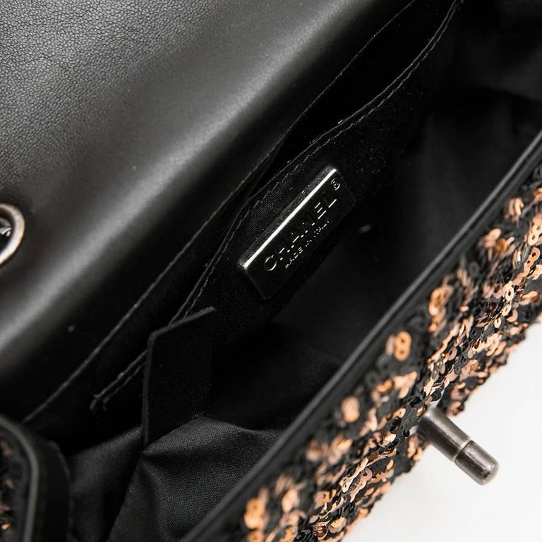 CHANEL Mini Evening Flap Bag in Black Leather Embroidered with Sequins For Sale 4