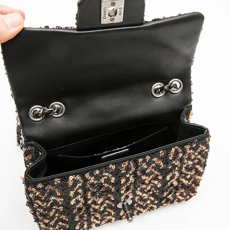 CHANEL Mini Evening Flap Bag in Black Leather Embroidered with Sequins For Sale 2
