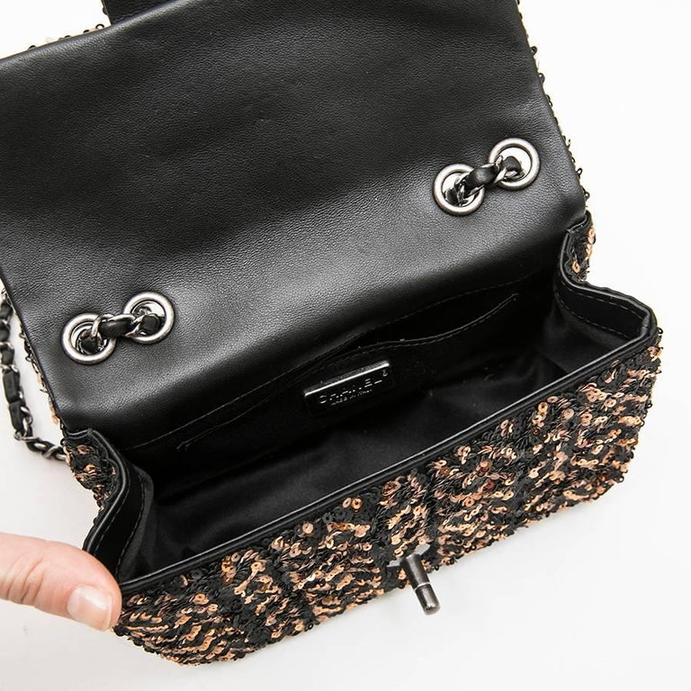 CHANEL Mini Evening Flap Bag in Black Leather Embroidered with Sequins For Sale 3