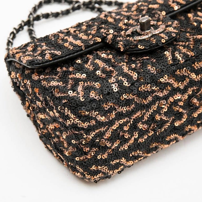 Women's CHANEL Mini Evening Flap Bag in Black Leather Embroidered with Sequins For Sale