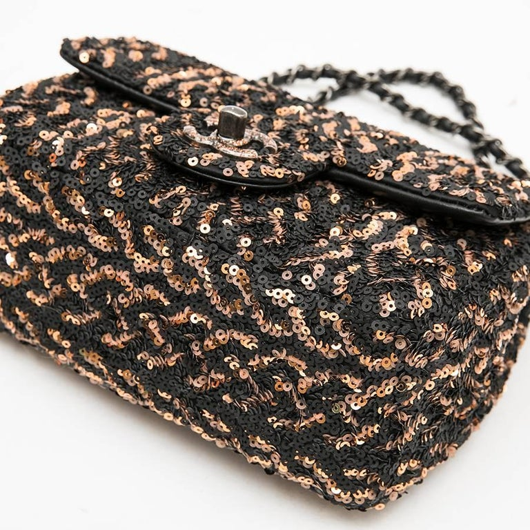 CHANEL Mini Evening Flap Bag in Black Leather Embroidered with Sequins For Sale 1