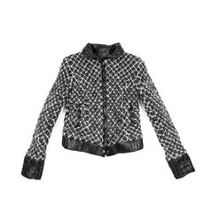 CHANEL Quilted Jacket in Black Lamb Leather Stitched with White Mohair Size 38FR
