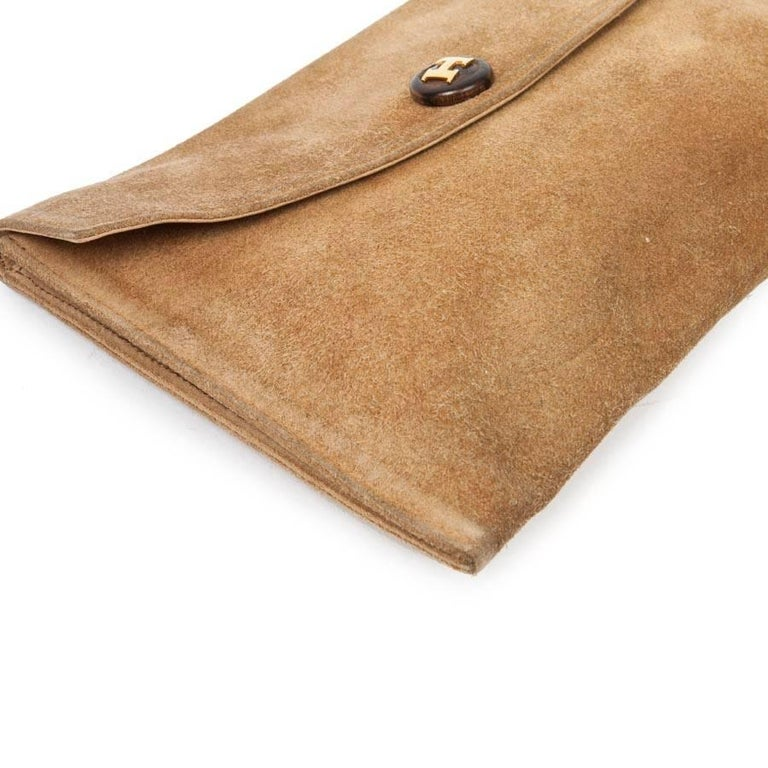 HERMES Vintage Clutch in Camel Suede For Sale 2