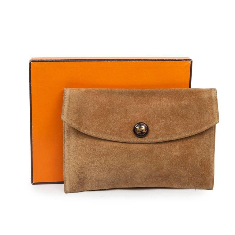 Brown HERMES Vintage Clutch in Camel Suede For Sale
