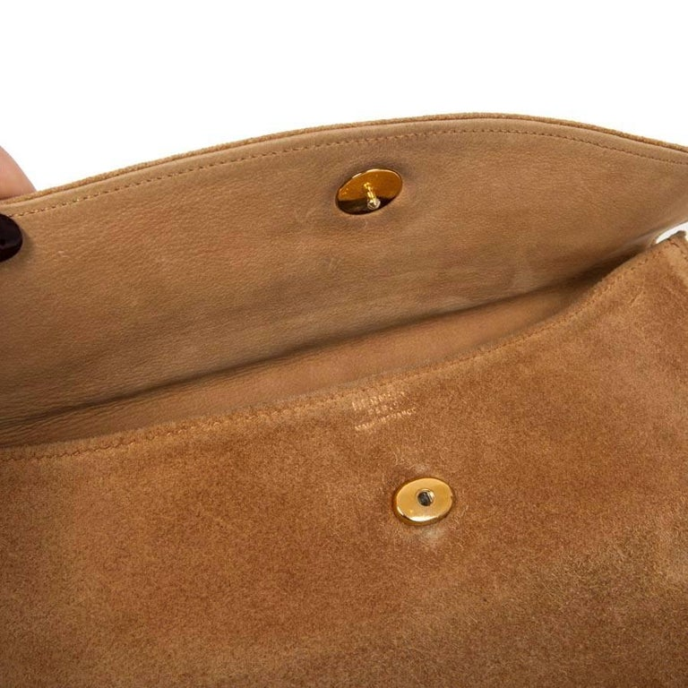 HERMES Vintage Clutch in Camel Suede For Sale 4